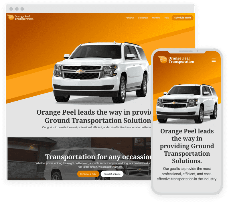 Banner of OrangePeelTransportation.com, featuring a desktop and mobile view